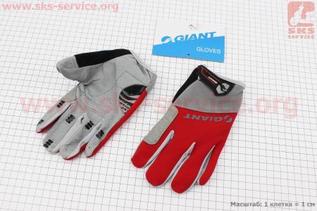 """Перчатки XL-серо-красные, с мягкими вставками под ладонь """"GIANT"""" для велосипеда"""