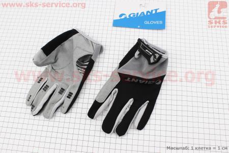 """Перчатки XL-черно-серые, с мягкими вставками под ладонь """"GIANT"""" для велосипеда"""