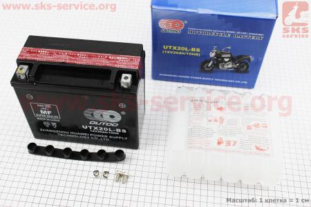 Аккумулятор 20Аh UTX20L-BS кислотный (L175*W85*H155 mm), 2019 для дизельного двигателя  F178/ F186 - 6/9 л.с.
