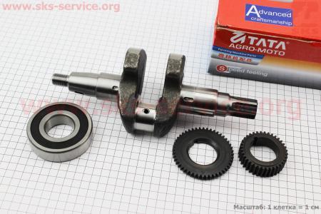 Коленвал 178F под шлиц +шестерни+подшипник для дизельного двигателя  F178/ F186 - 6/9 л.с.