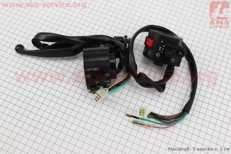 Блок кнопок на руле правый, левый с рычагом к-кт 2шт для мотоцикла VIPER-125-J (двигатель СВ-125сс-200сс)