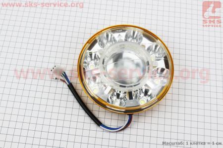 Фары круглой передняя часть 8+1-LED линза с ободком, d-140mm, TUNING для мотоциклов разных моделей (Китай, импорт)