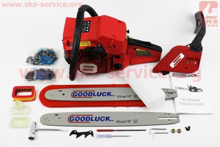 """Бензопила GoodLuck GL5800E 58cc (4,5кВт. шина 18""""), с подкачкой, плавный пуск. Крышка стар. и тор. - метал. (шина, цепь по 2шт)"""