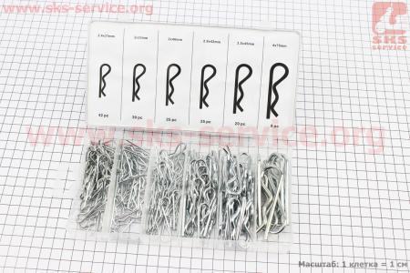 Набор шплинтов пружинных (L-31;d-2,4, L-33;d-2, L-40;d-2, L-42;d-2,8, L-45;d-3,5, L-75;d-4) 6 видов, 144шт для мотоблоков