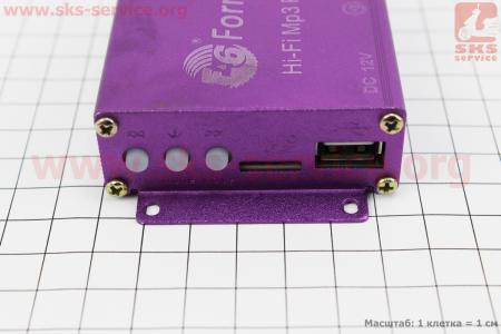 АУДИО-блок (МРЗ-USB/SD, FM-радио, пультДУ, сигнализация) + колонки 2шт (красные)