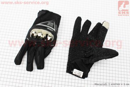 Перчатки мотоциклетные L-черно/серые (сенсорный палец)