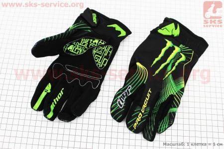 Перчатки мотоциклетные L-зеленые, тип 4