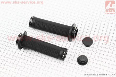 Ручки руля 130мм с зажимом Lock-On с двух сторон, черные TPE-196 для велосипеда