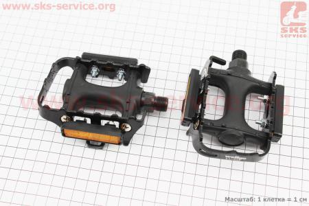 """Педали MTB 9/16"""" (100x75x33mm) пластико-алюминиевые, черные LU-933 для велосипеда"""
