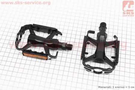 """Педали MTB 9/16"""" (105x66x23mm) алюминиевые, черно-серебристые M224DU для велосипеда"""