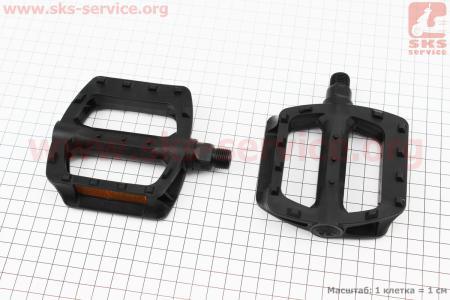 """Педали BMX 9/16"""" (107x95.5x25mm) пластиковые, черные LU-984DU для велосипеда"""