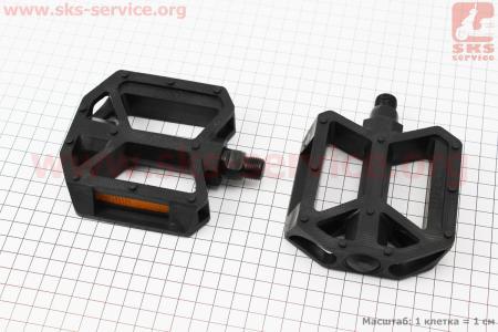 """Педали BMX 9/16"""" (107x96x26.5mm) пластиковые, черные WP408 для велосипеда"""
