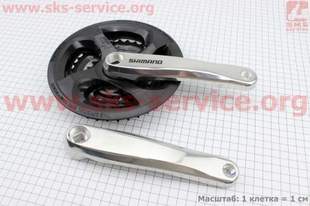 """Шатуны """"квадрат"""" 170мм, 42.34.24T МТВ, алюминиевые, серо-черные FC-M131 для велосипеда"""