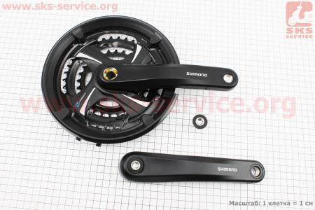 """Шатуны """"квадрат"""" 170мм, 48.38.28T МТВ, алюминиевые, черные FC-TX801 для велосипеда"""