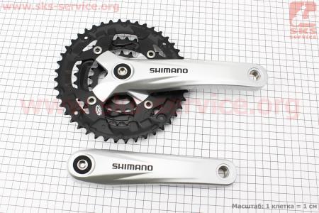 """Шатуны """"квадрат"""" 170мм, 44.32.22T МТВ, алюминиевые, серо-черные ACERA FC-M391 для велосипеда"""