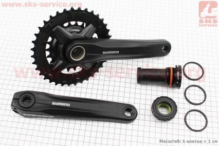 """Шатуны """"Hollowtech II"""" 175мм, 36.22T МТВ, интегрированная ось 24мм, алюминиевые, черные ACERA FC-MT210-2 для велосипеда"""