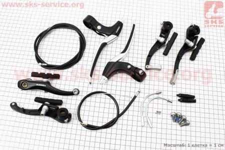 Тормоз V-brake задний+передний в сборе 110мм, рычаги+троса, алюминиевые, черные для велосипеда