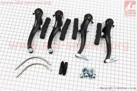 Тормоз V-brake задний+передний в сборе 110мм, алюминиевые, черные AR-Т210DG для велосипеда