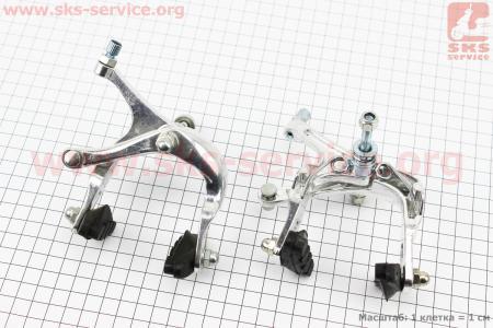 """Тормоз """"ШОССЕ"""" V-brake задний+передний, ход колодки 48-68мм, клещевого типа, алюминиевые для велосипеда"""