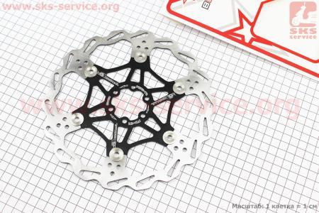 Тормозной диск 203мм, под 6 болтов, на алюминиевом пауке, черный FD-01 для велосипеда