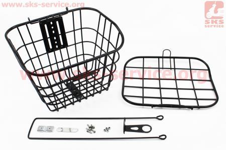 """Корзина багажная передняя 28"""" с крышкой, черная YZ-061 для велосипеда"""