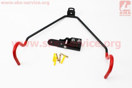 Крепление велосипеда за раму к стене складное, регулируемый угол наклона велосипеда, черно-красное HS-025