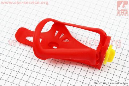 Флягодержатель пластиковый с регулировкой под фляги 51-73мм, крепл. на раму, красный для велосипеда