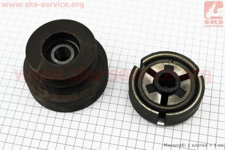 Шкив-муфта сцепления вариаторного типа (D=102мм под коленвал Ø19мм, два паза под ремень SPB) 168F/170F для мотоблока