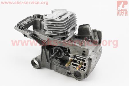 УЦЕНКА Б/П-GoodLuck Блок двигателя в сборе 52cc 45мм, черный картер (выбито ребра охлаждения, см. на фото)