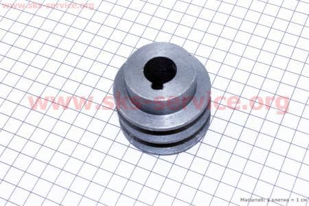 Шкив ведущий D=55мм под коленвал 19мм 2-х ручейковый  З/ч на двигатель мотоблок бензновый 168F-6,5л.с.