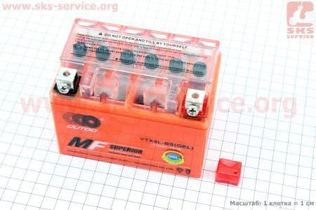 Аккумулятор 4Аh YTX4L-BS (гелевый, оранж) 113/70/85мм, 2017
