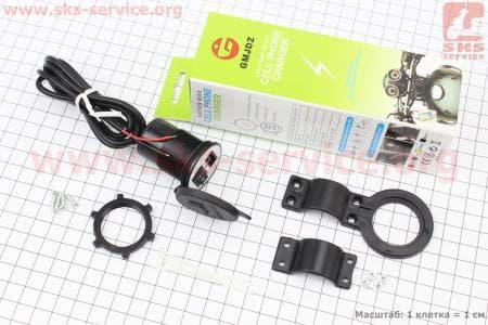 Зарядка USB универсальная (крепление в пластик/на руль)
