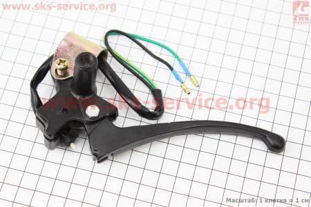Крепление + рычаг под зеркало левое GY6-80 (рычаг черный)