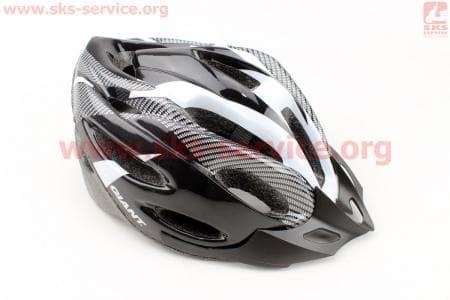 Шлем велосипедный L (54-62 см) съемный козырек, 20 вент. отверстия, системы регулировки по размеру Divider и Run System SRS, черно-серый