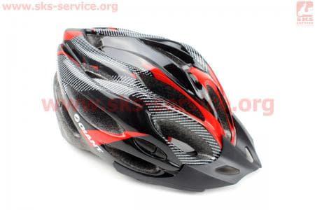 Шлем велосипедный L (54-62 см) съемный козырек, 21 вент. отверстия, системы регулировки по размеру Divider и Run System SRS, черно-красный