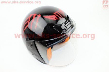 Шлем открытый 207 XS - ЧЕРНЫЙ глянец с рисунком красным MONSTER