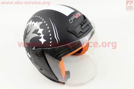 Шлем открытый 207 XS - ЧЕРНЫЙ матовый с рисунком белым