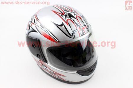 Шлем закрытый 825-1 S- СЕРЫЙ с рисунком