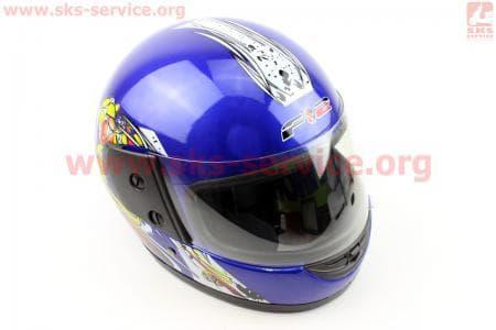 Шлем закрытый 825-1 S- СИНИЙ с рисунком