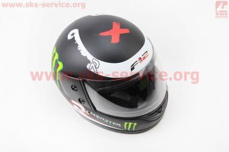 Шлем закрытый 825-1 S- ЧЕРНЫЙ матовый с рисунком MONSTER