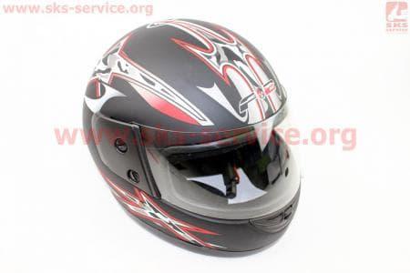 Шлем закрытый 825-1 S- ЧЕРНЫЙ матовый с серо красным мечем