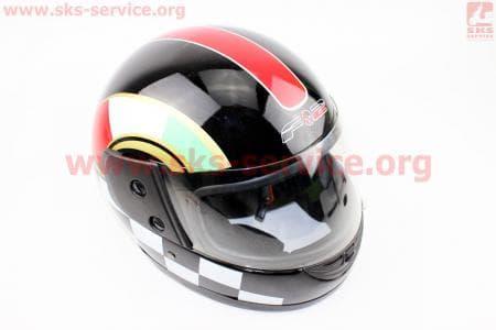Шлем закрытый 825-1 S- ЧЕРНЫЙ с красной полосой