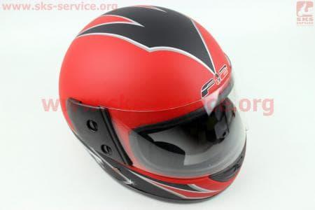 Шлем закрытый 825-2 XS- КРАСНЫЙ матовый с рисунком черным