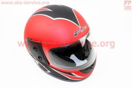 Шлем закрытый 825-2 S- КРАСНЫЙ матовый с рисунком черным