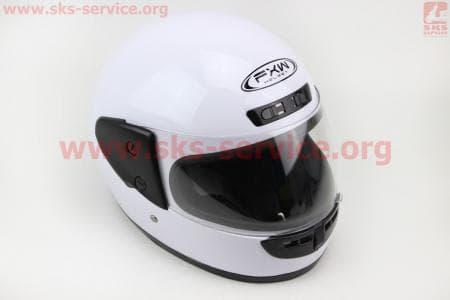 Шлем закрытый HF-101 S- БЕЛЫЙ глянец