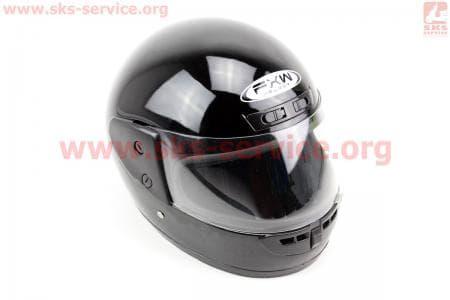 Шлем закрытый HF-101 S- ЧЕРНЫЙ глянец