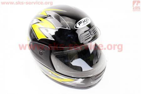 Шлем закрытый HF-109 M- ЧЕРНЫЙ с рисунком Q42