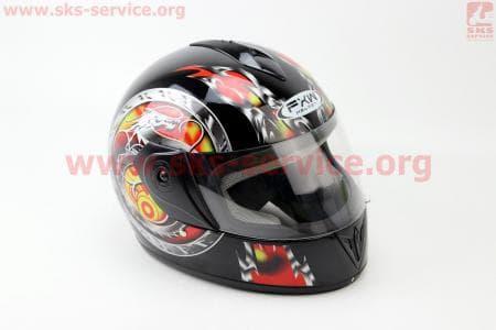 Шлем закрытый HF-150 M- ЧЕРНЫЙ с рисунком красным
