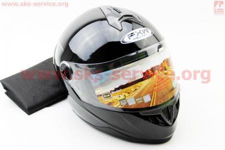 Шлем закрытый HF-122 S- ЧЕРНЫЙ глянец