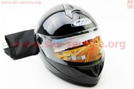 Шлем закрытый HF-122 M- ЧЕРНЫЙ глянец